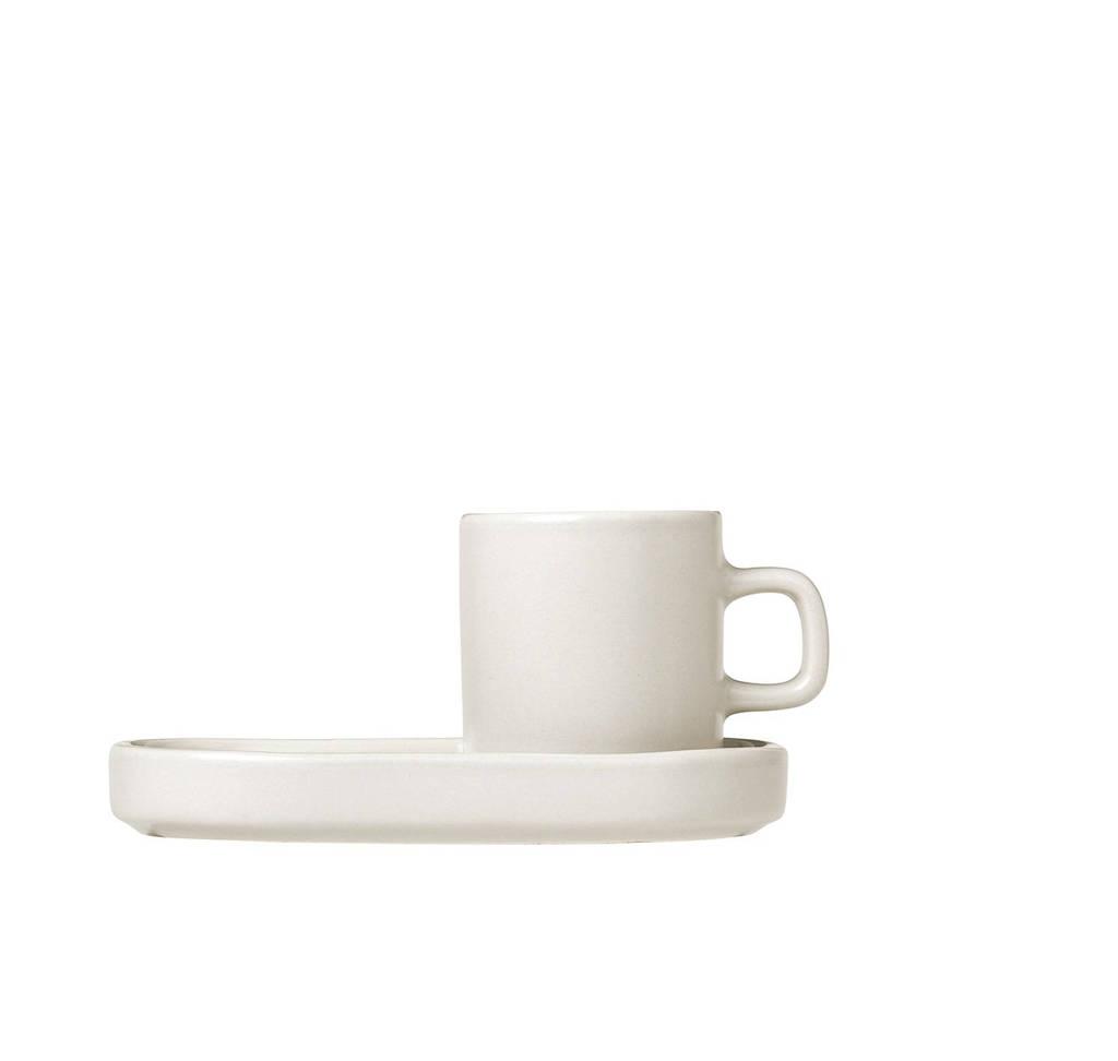 Blomus espresso kop & schotel Pilare (10 cl) (set van 2), Creme