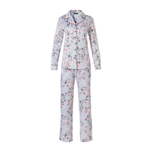Pastunette gebloemde pyjama lichtblauw
