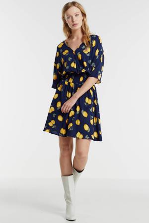 jurk met all over print blauw/geel