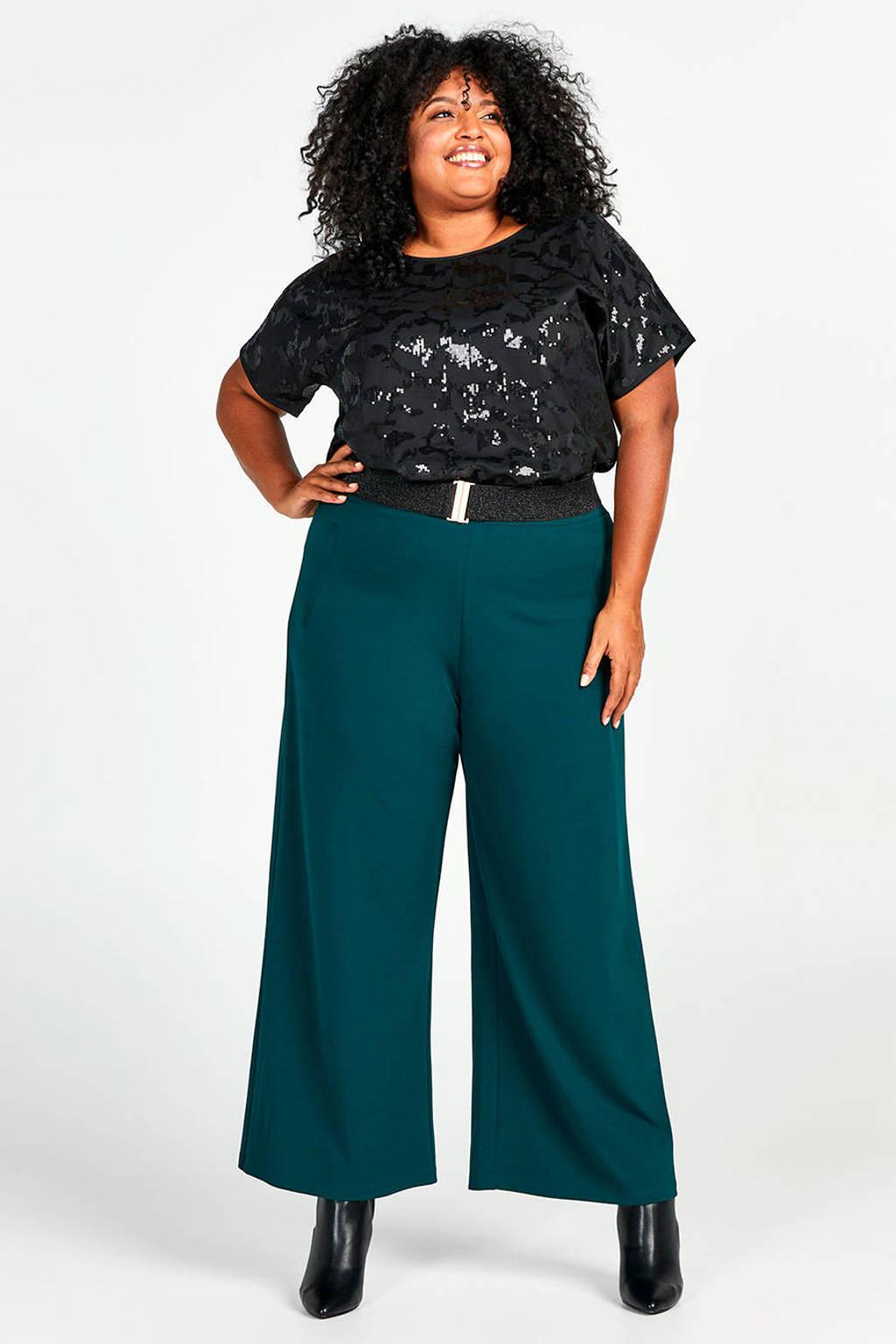 Miss Etam Plus top met pailletten zwart, Zwart