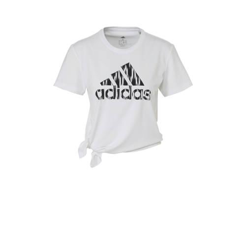 adidas Performance sport T-shirt wit/zwart