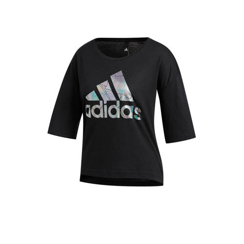 adidas Performance cropped sport T-shirt zwart