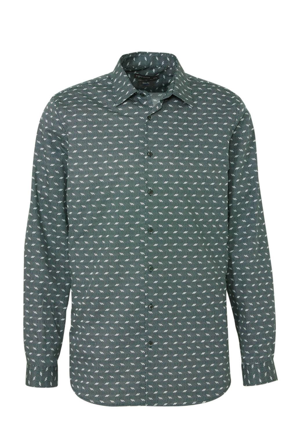 C&A Angelo Litrico slim fit overhemd met printopdruk antraciet, Antraciet