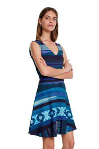 Desigual jersey jurk met all over print blauw, Blauw