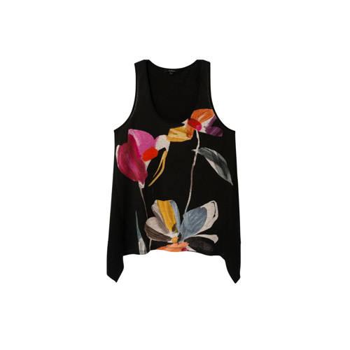 Desigual gebloemde linnen top zwart/multi