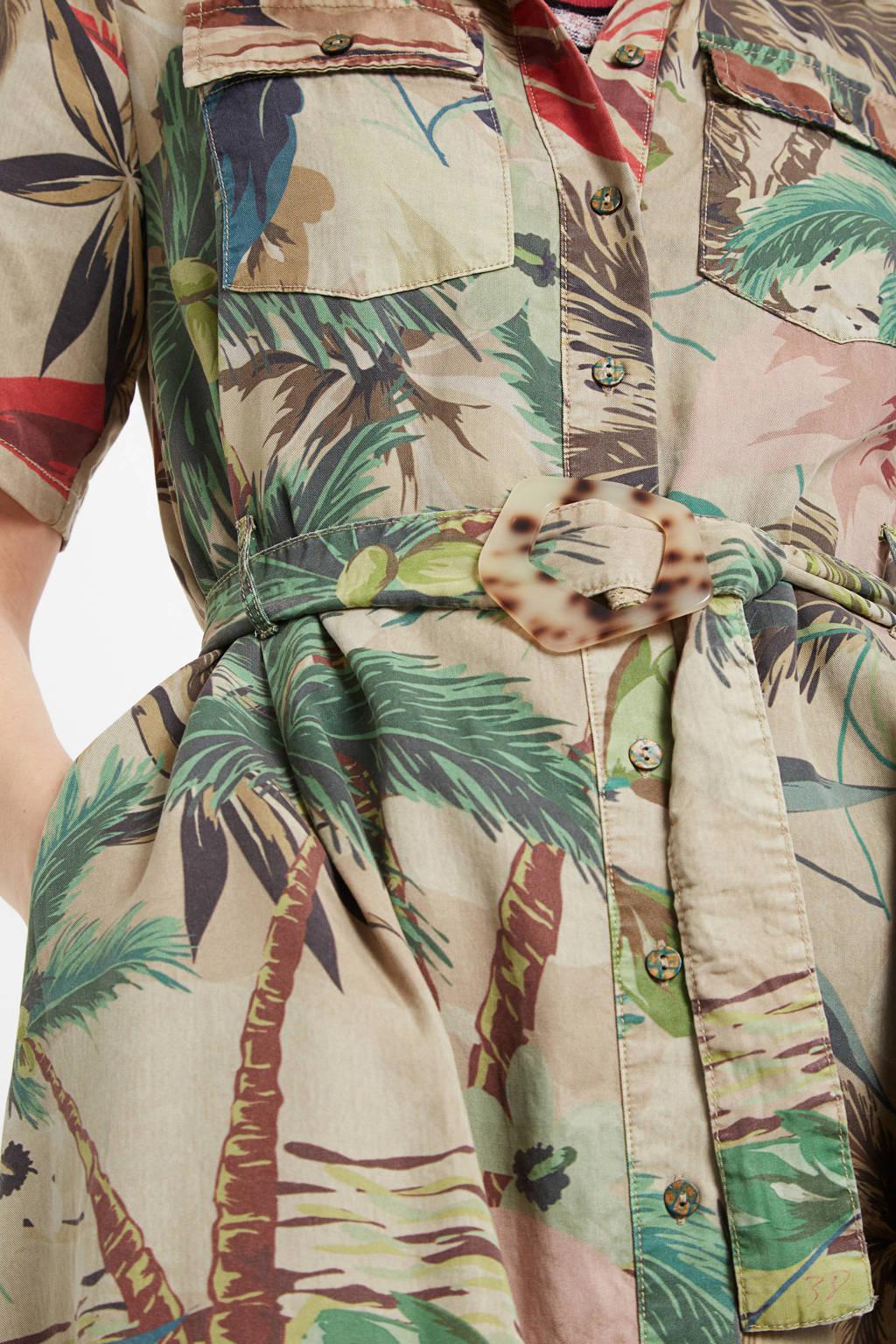 Desigual blousejurk met all over print en ceintuur beige/groen, Beige/groen