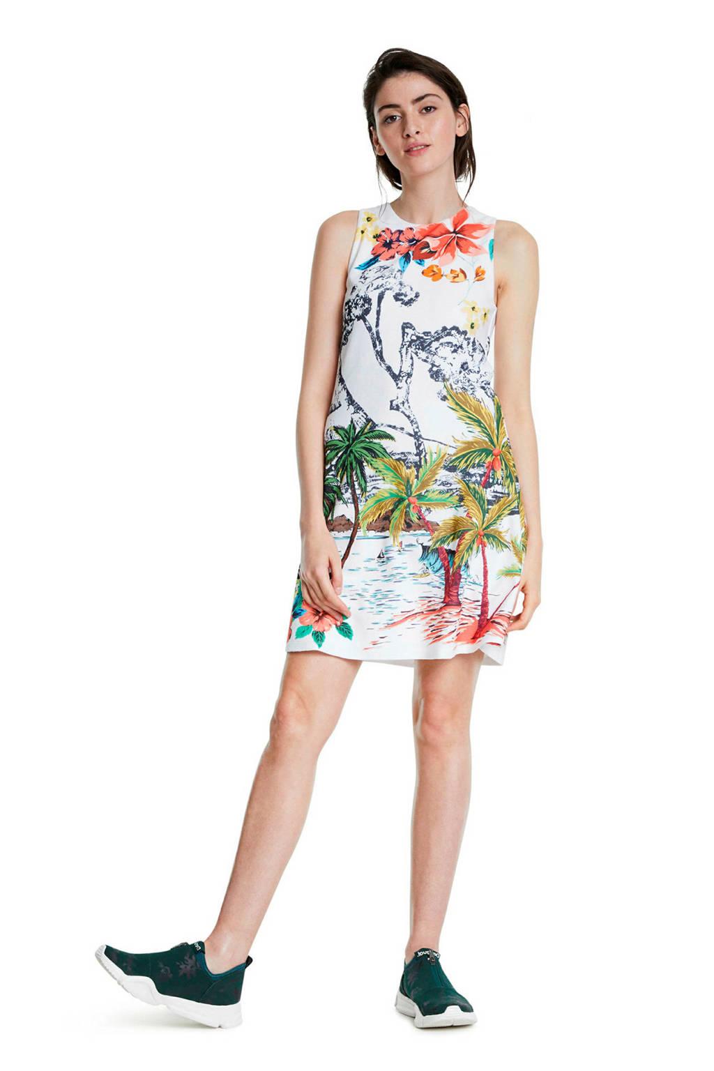 Desigual halter jurk met all over print wit/multi, Wit/multi