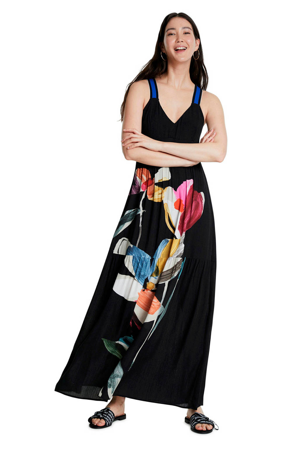 Desigual gebloemde semi-transparante maxi jurk zwart/multi, Zwart/multi