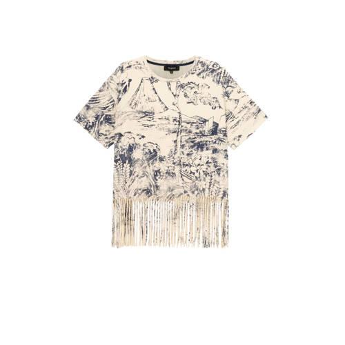 Desigual T-shirt met all over print en franjes ecr