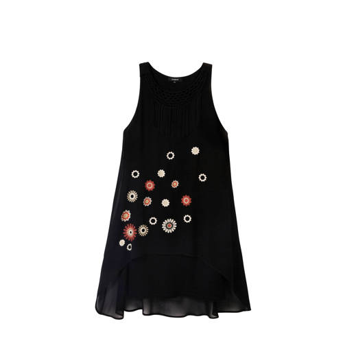 Desigual gebloemde semi transparante A lijn jurk zwart multi, Deze damesjurk van Desigual is gemaakt van polyester en heeft een bloemenprint. De jurk is mouwloos en heeft verder een ronde hals. De jurk is gevoerd.details van deze jurk:borduurselsfranjessemi-transparantExtra gegevens:Merk: DesigualKleur: ZwartModel: Jurk (Dames)Voorraad: 4Verzendkosten: 0.00Plaatje: Fig1Plaatje: Fig2Maat/Maten: 40Levertijd: direct leverbaarAanbiedingoude prijs: € 99.95