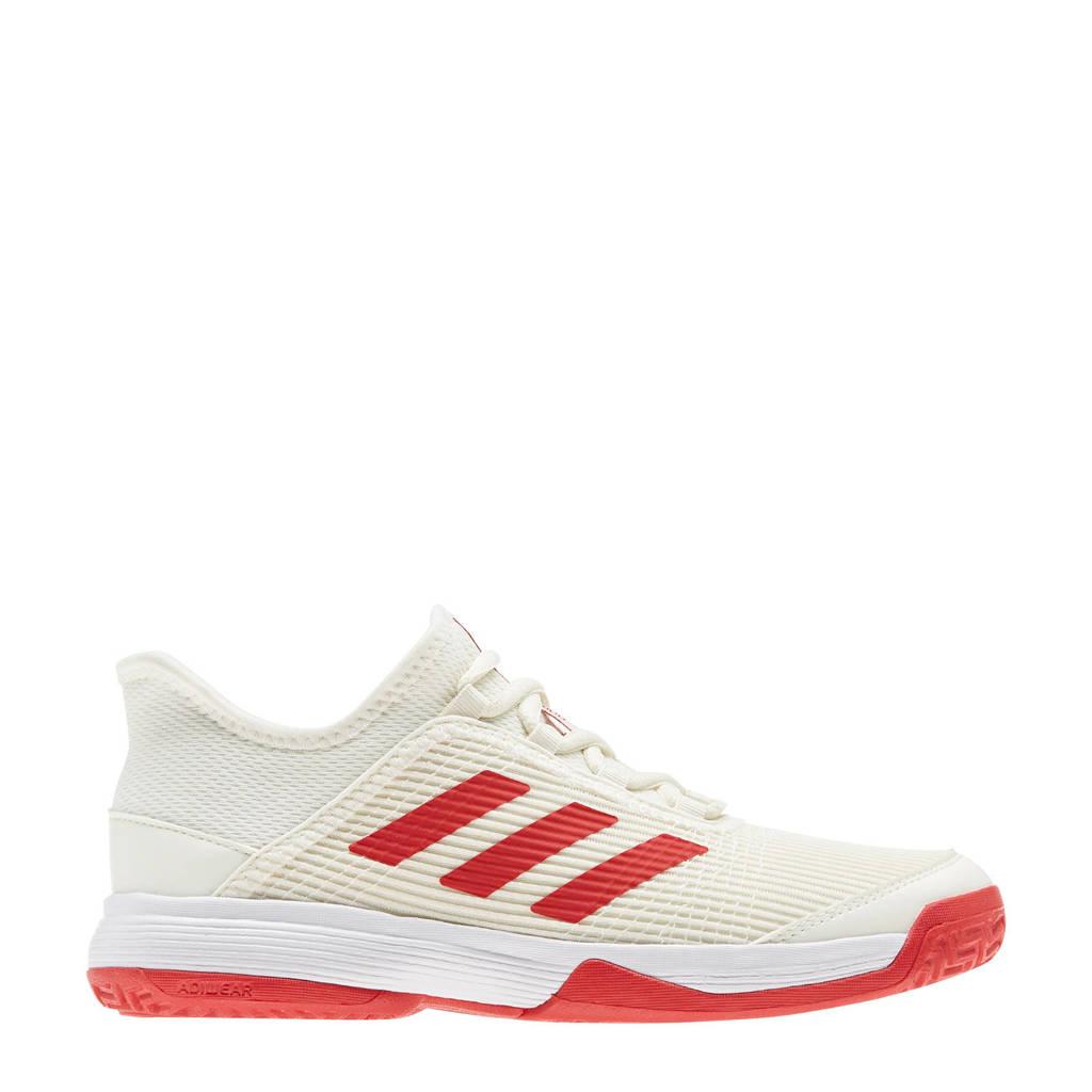 adidas Performance adizero club k tennisschoenen wit/rood kids, Wit/rood