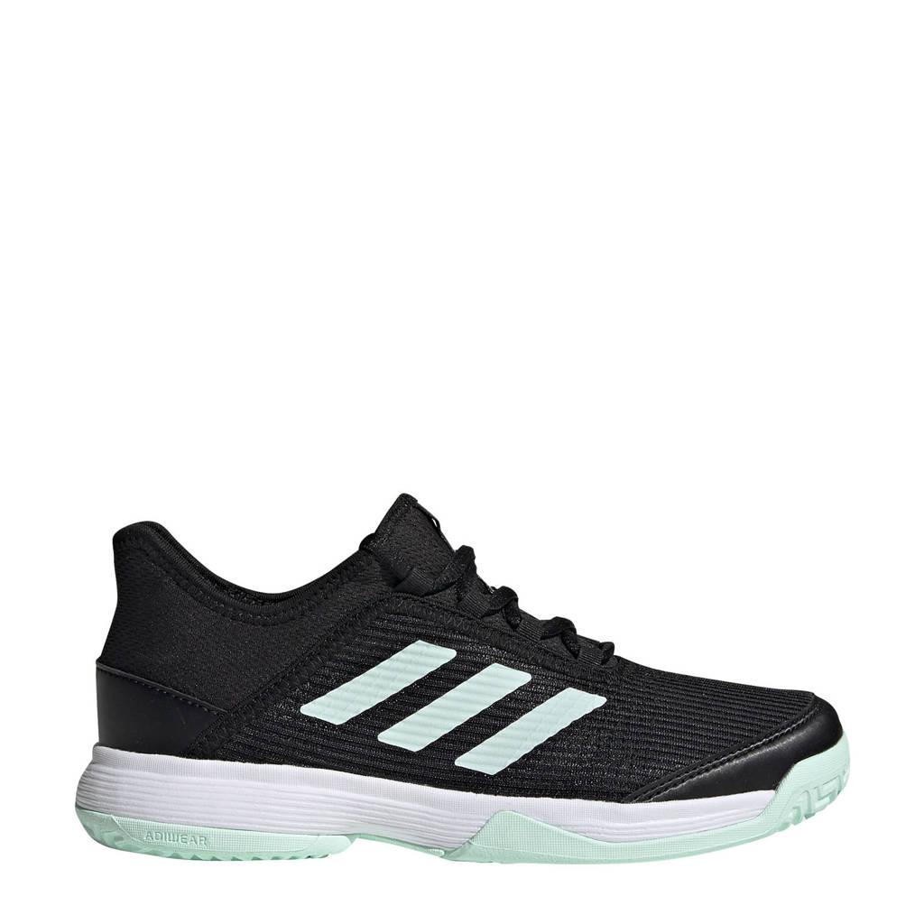 adidas Performance adizero club k tennisschoenen zwart/mintgroen kids, Zwart/mintgroen
