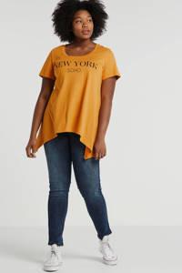 Zizzi T-shirt met tekst geel, Geel