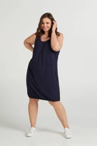 Zizzi jersey jurk en plooien donkerblauw, Donkerblauw