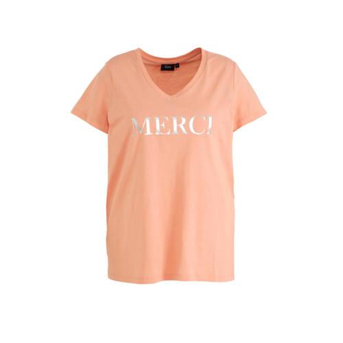 Zizzi T-shirt met tekst roze/zilver