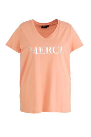 T-shirt met tekst roze/zilver