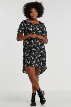 gebloemde jurk donkerblauw/multi