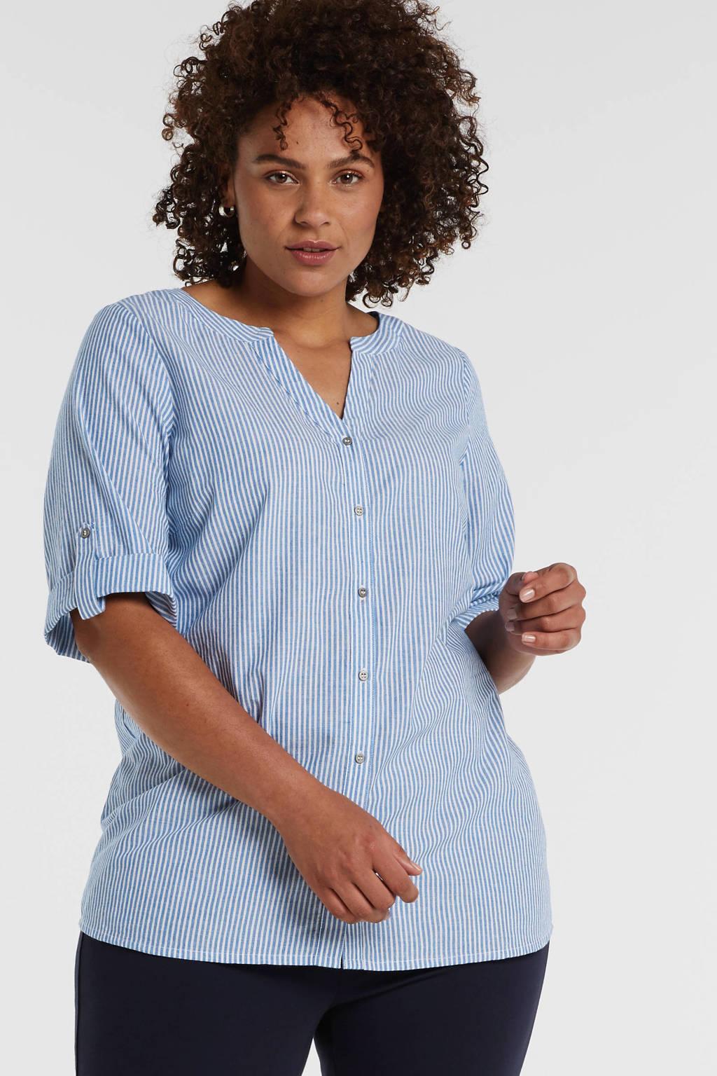 Zizzi gestreepte blouse ds blouse lichtblauw, Lichtblauw