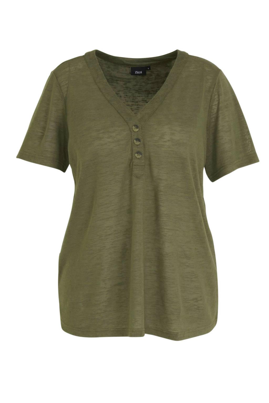 Zizzi T-shirt ds T-shirt groen, Groen