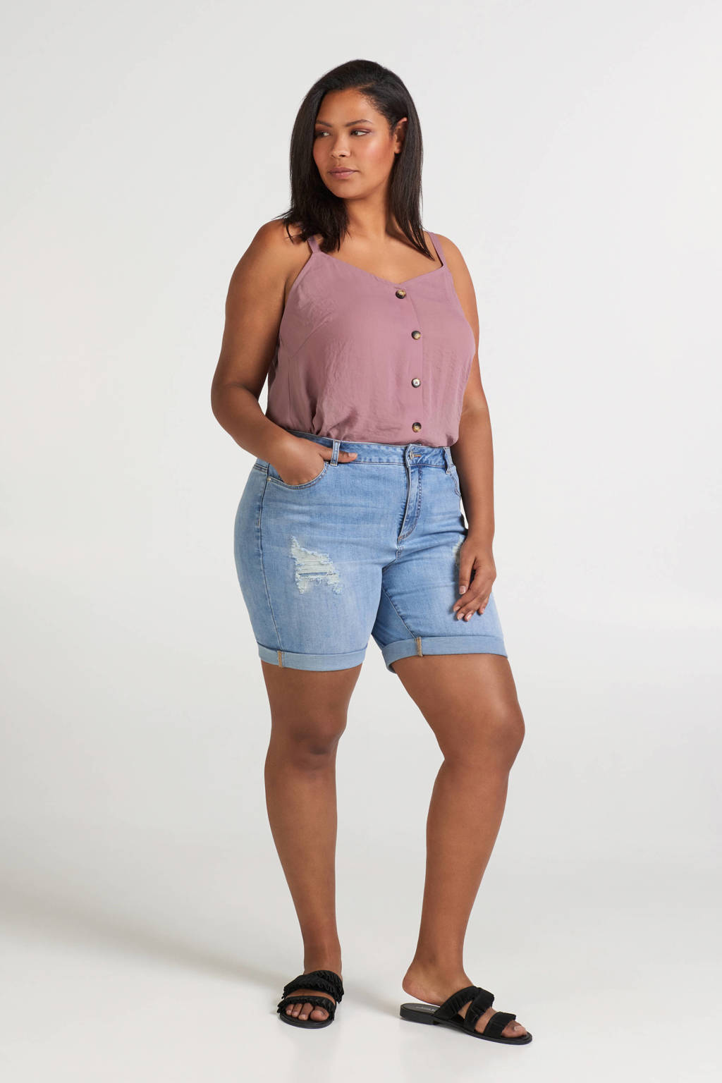 Zizzi jeans short Bella blauw, Blauw