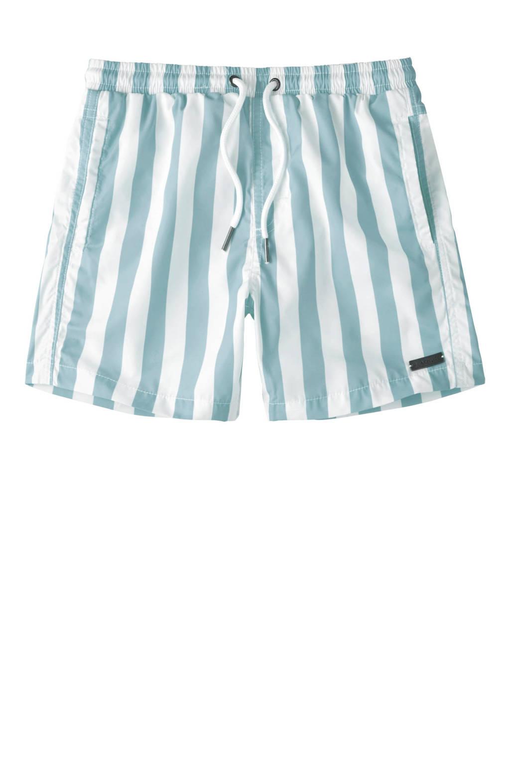 Beachlife gestreepte strandshort lichtblauw/wit, Lichtblauw/wit
