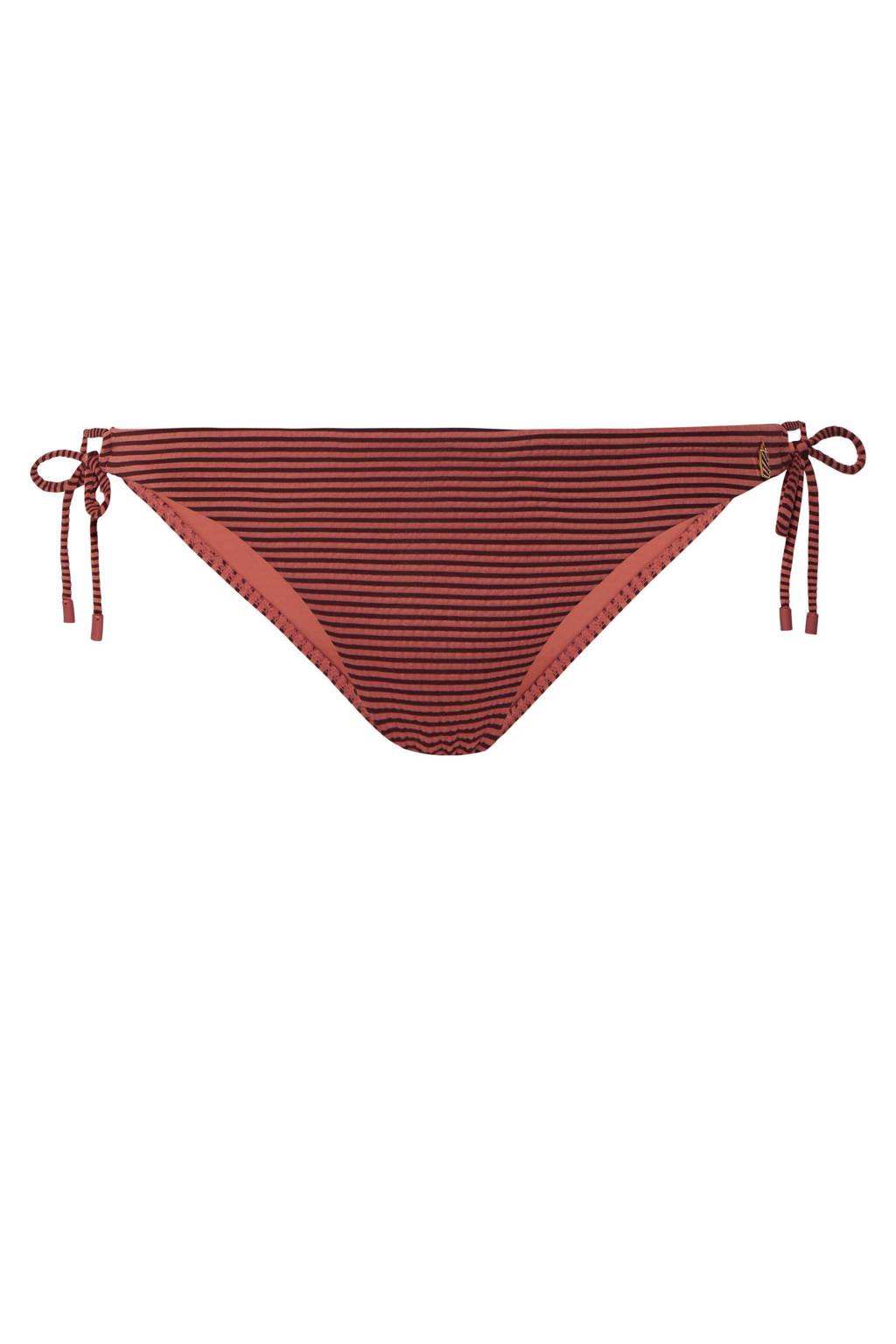 Beachlife gestreept bikinibroekje rood, Donkerrood/rood