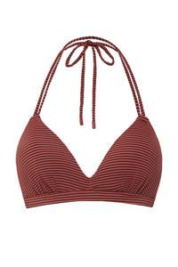 Beachlife gestreepte triangel bikinitop rood, Donkerrood/rood