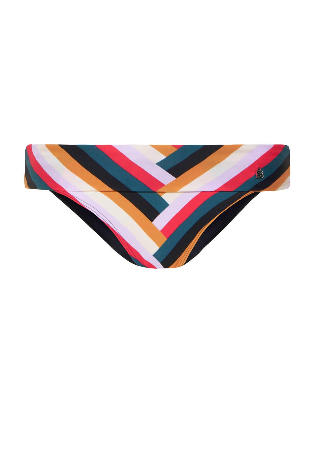 Beachlife gestreept omslag bikinibroekje donkerblauw/roze, Donkerblauw/wit/roze/lila/petrol/camel