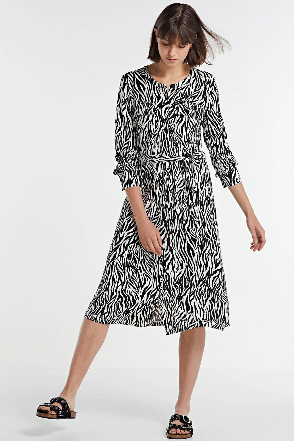 FREEQUENT blousejurk met zebraprint en ceintuur wit/zwart, Wit/zwart