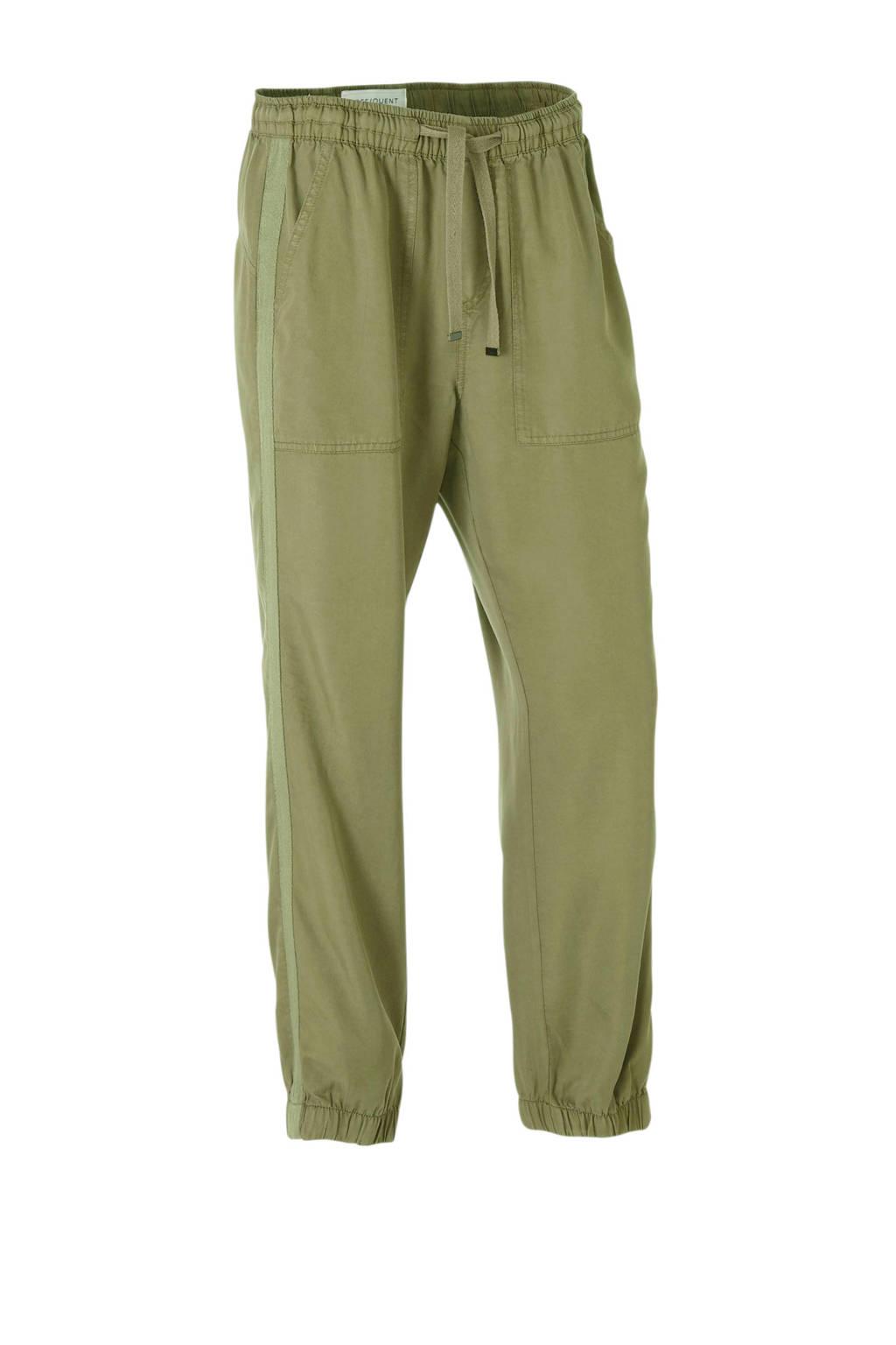 FREEQUENT high waist slim fit broek met zijstreep olijfgroen, Olijfgroen