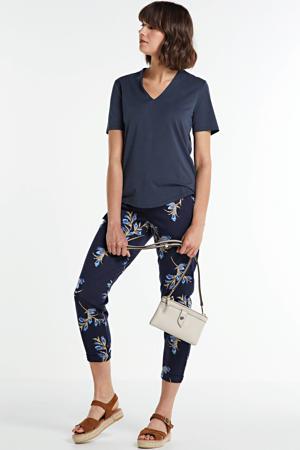 high waist slim fit broek met all over print donkerblauw