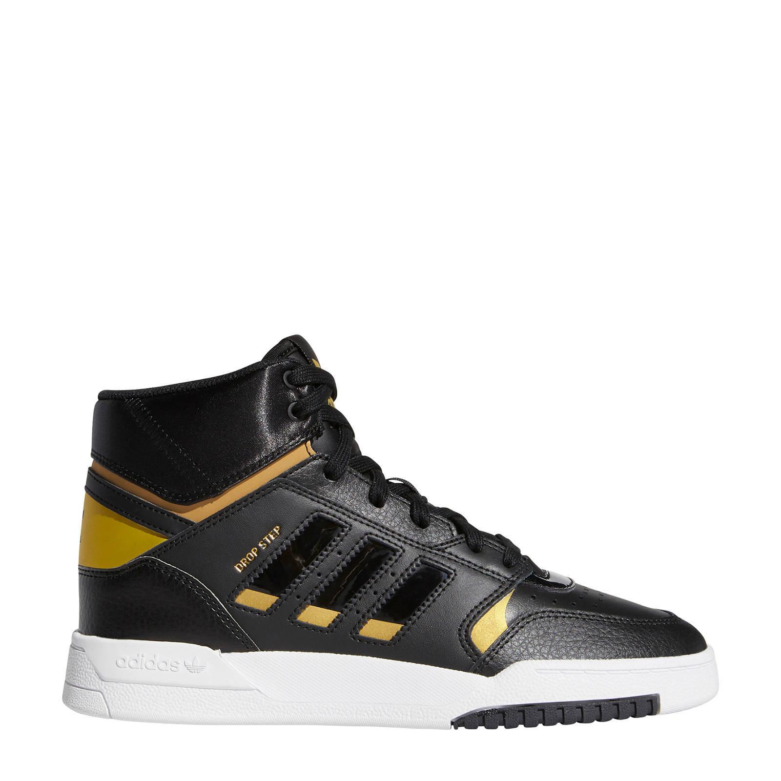 Drop Step leren sneakers zwart/goud metallic