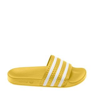 Adilette  badslippers geel/wit