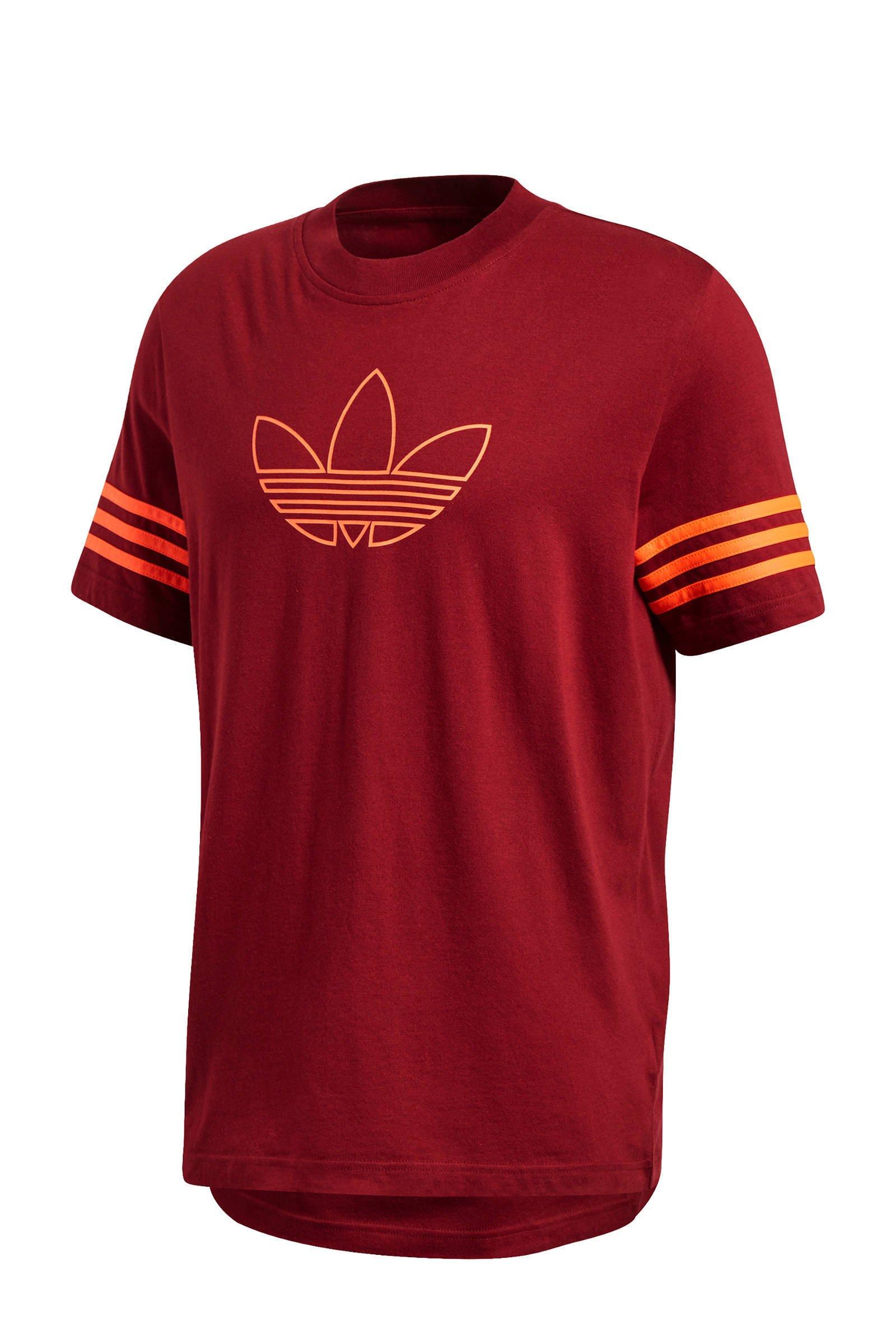 adidas Originals T-shirt bordeauxrood | wehkamp