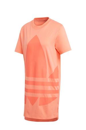 T-shirt jurk oranje/koraalrood