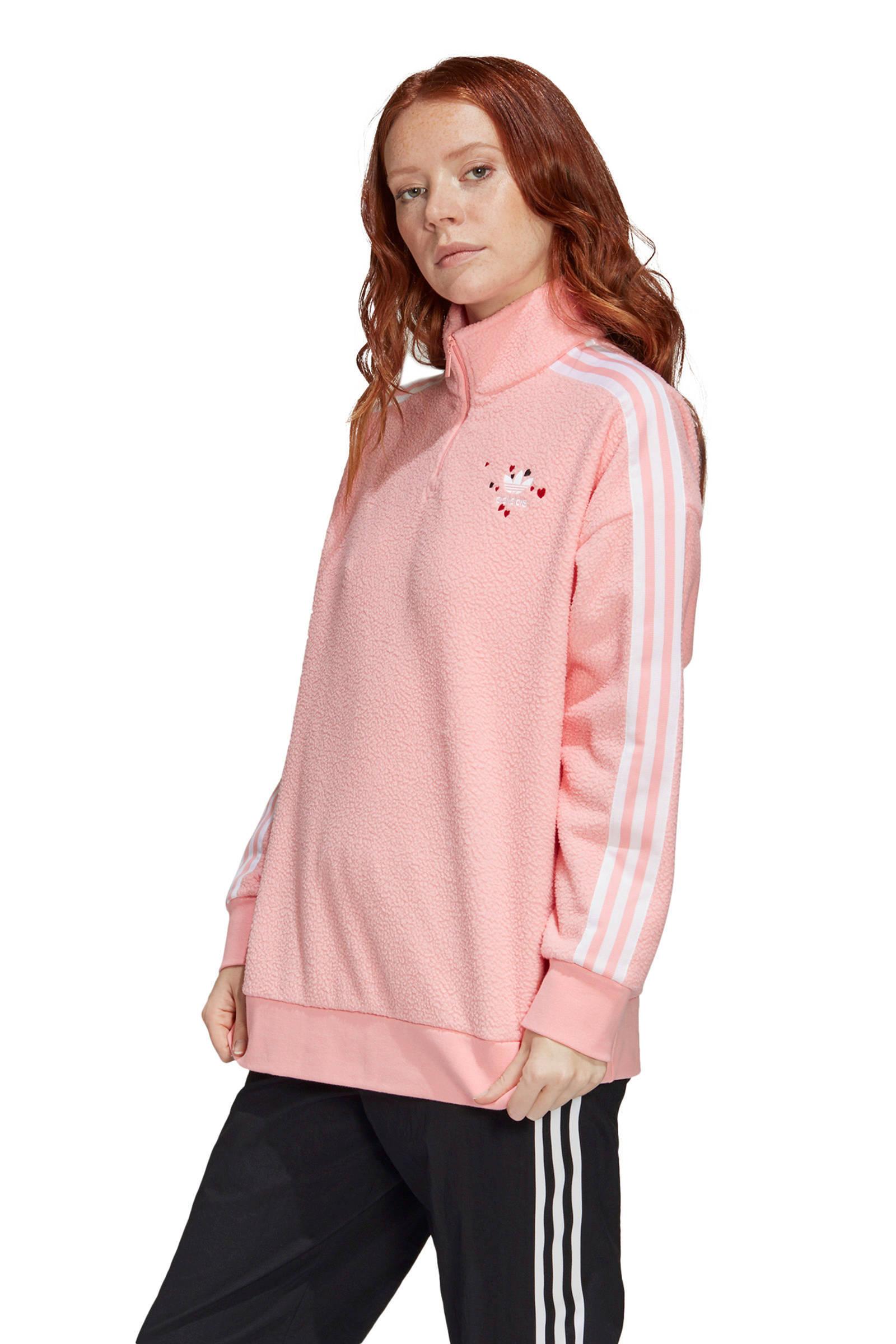 adidas Originals Valentine's Day fleece sweater lichtroze/wit