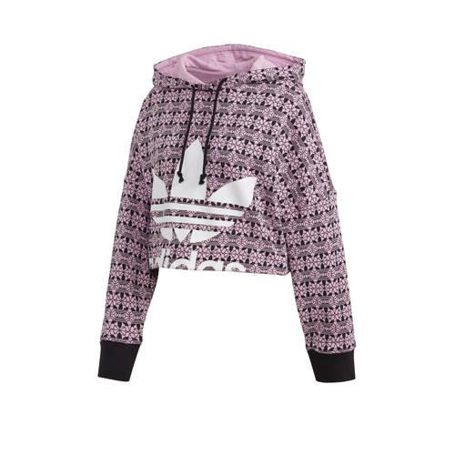 adidas Originals cropped hoodie roze/zwart