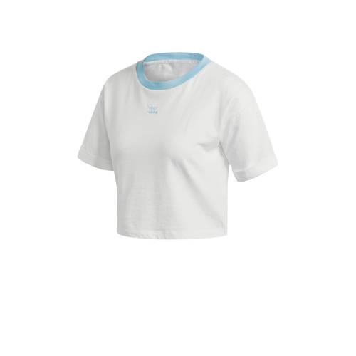 adidas Originals Adicolor cropped T-shirt blauw-wit