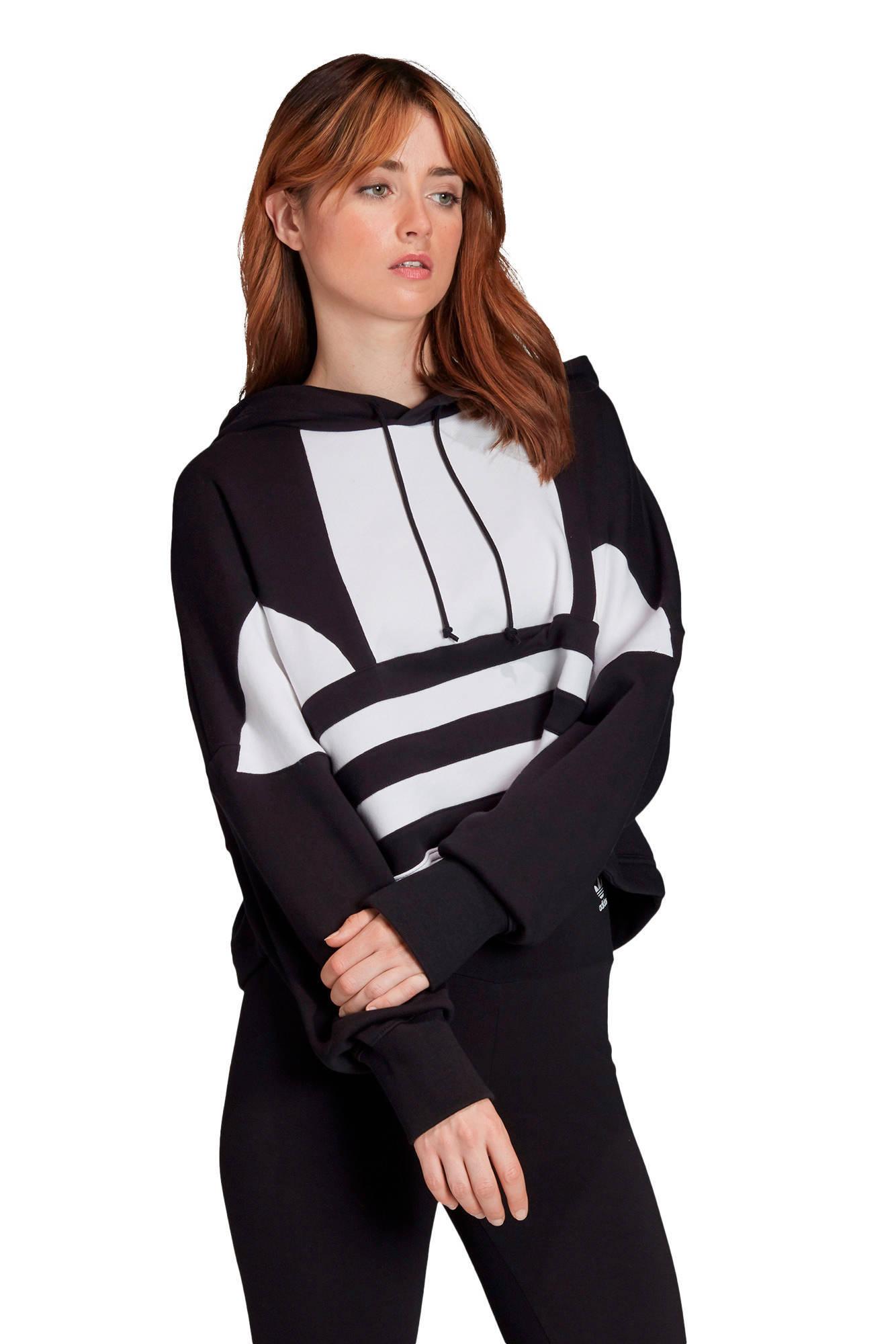 Adicolor cropped hoodie zwartwit