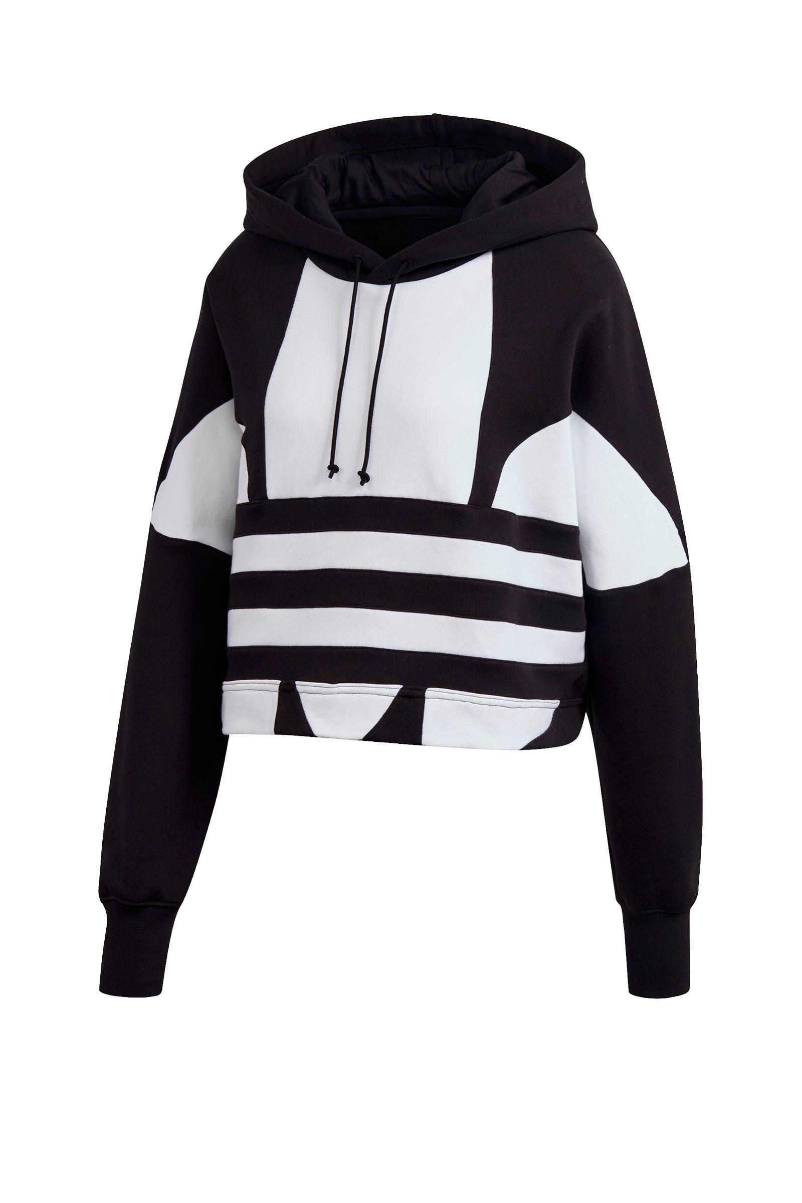 adidas Originals Adicolor cropped hoodie zwartwit   wehkamp