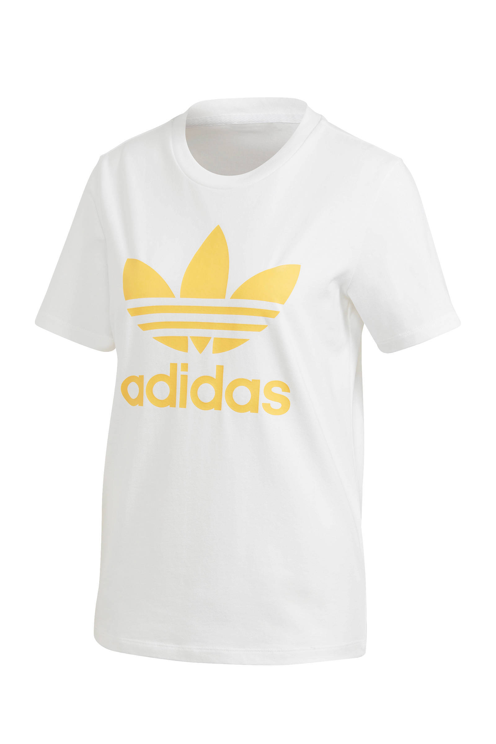 adidas Originals T-shirt wit/geel | wehkamp