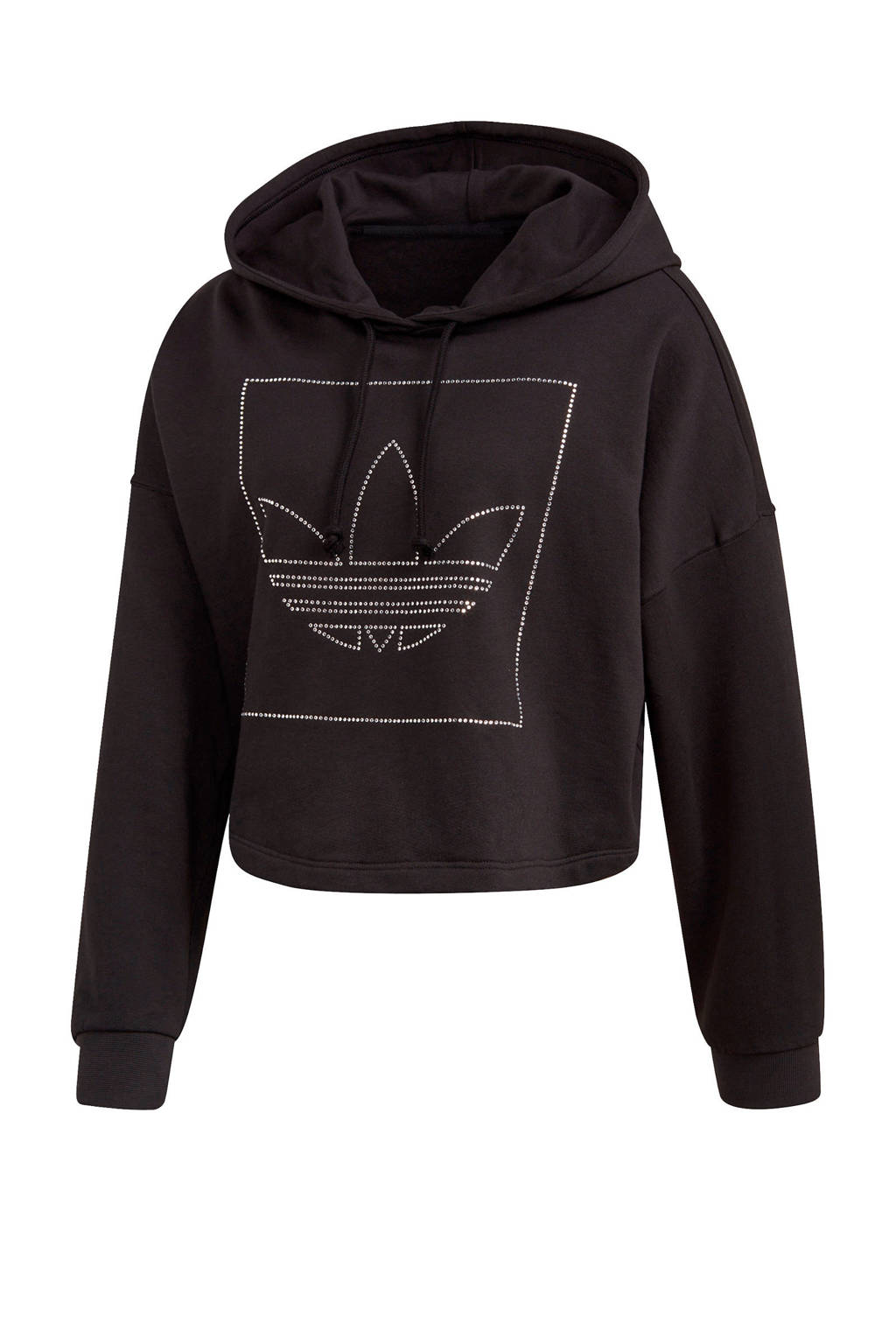 adidas Originals cropped hoodie zwart, Zwart