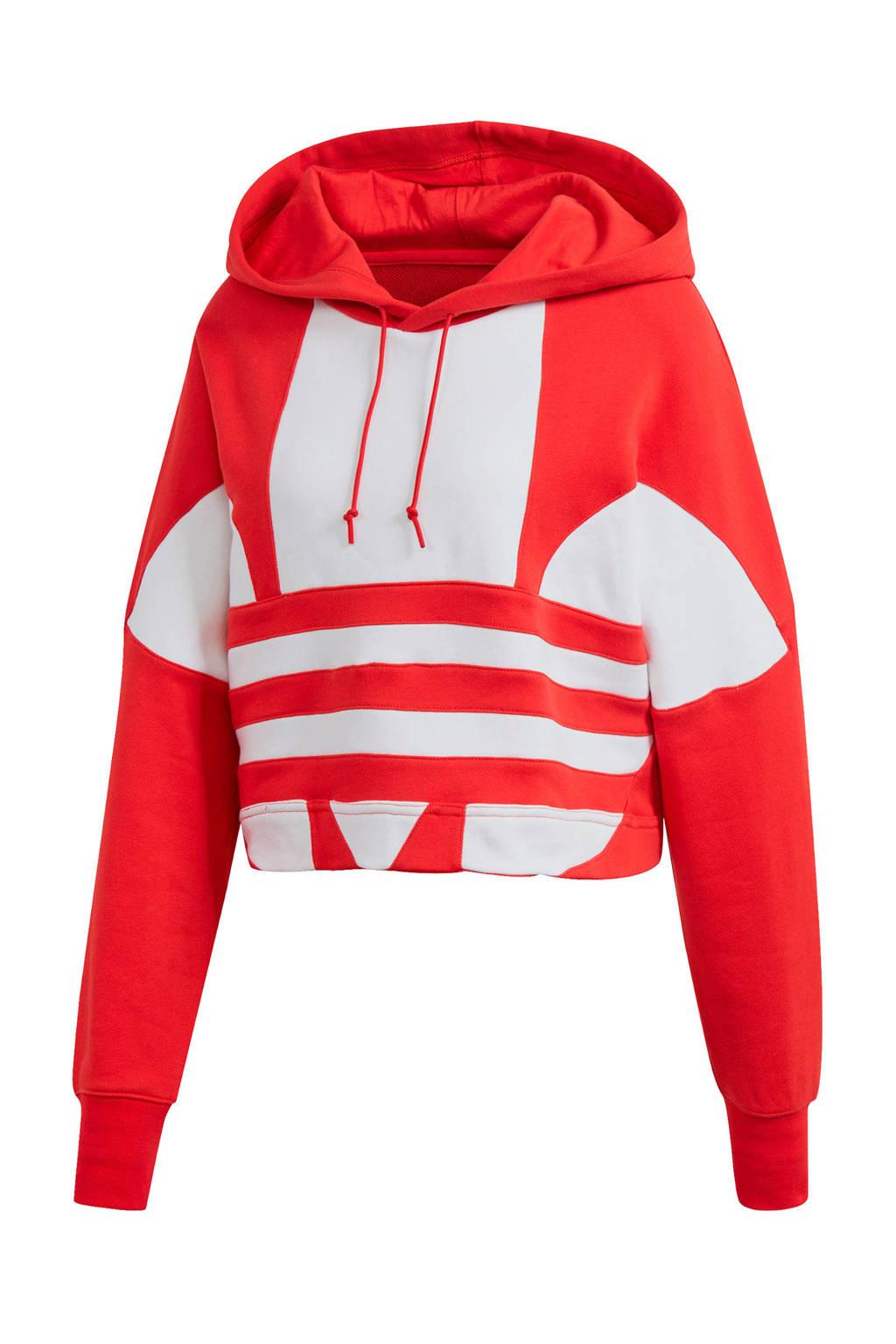 adidas Originals Adicolor cropped hoodie rood/wit, Rood/wit