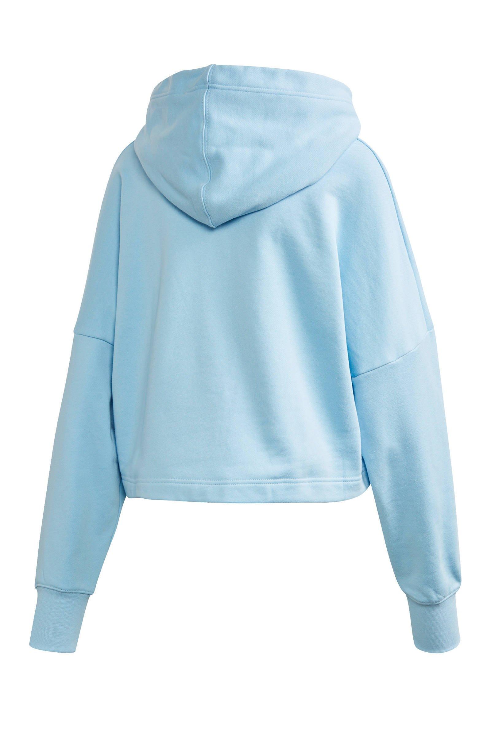 adidas Originals Adicolor cropped hoodie lichtblauw/wit ...