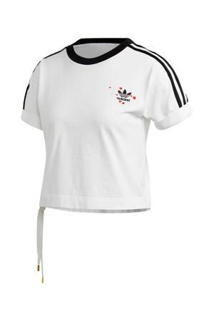 Valentine's Day cropped T-shirt wit/zwart