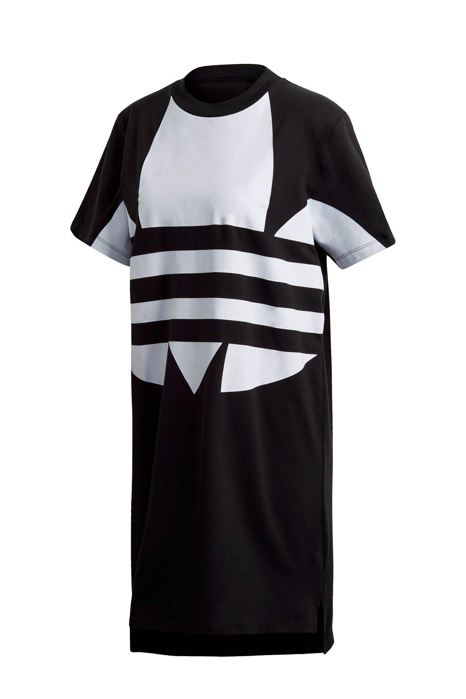 Adicolor T shirt jurk zwartwit