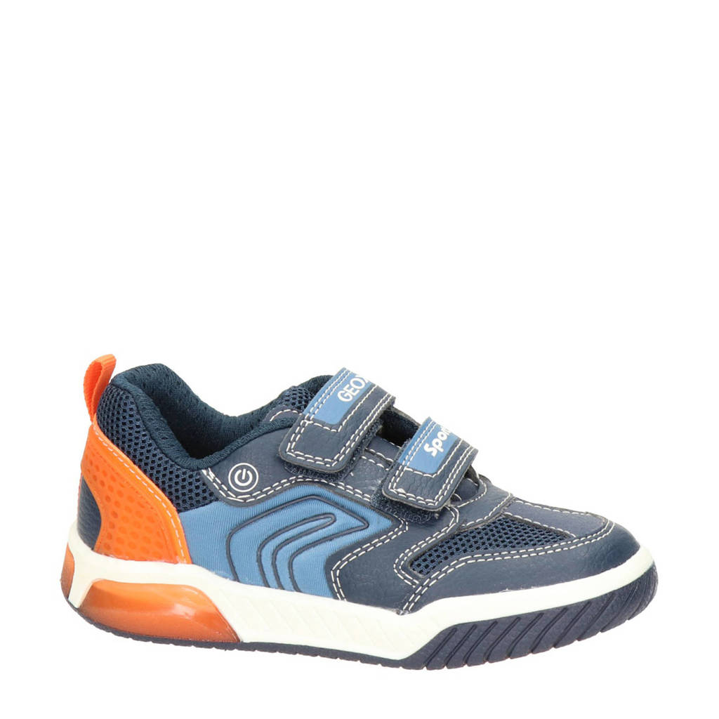 Geox Inek Boy  sneakers met lichtjes blauw, Blauw/oranje