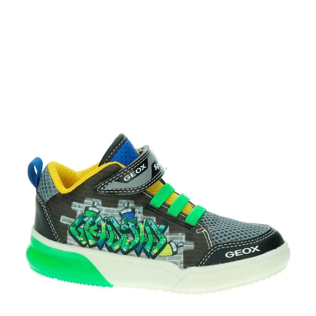 Geox J GrayJay  hoge sneakers met lichtjes zwart/groen, Zwart/groen