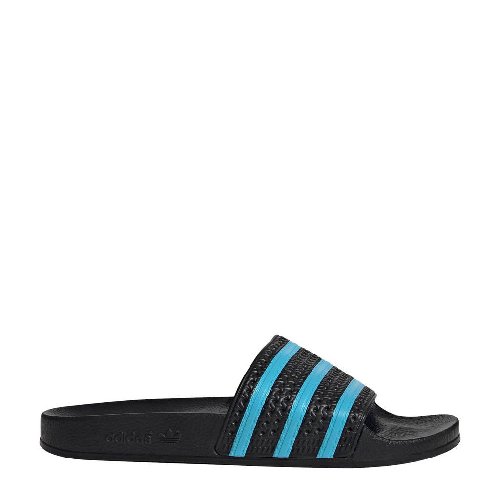 adidas Originals Adilette  badslippers zwart/blauw, Zwart/blauw