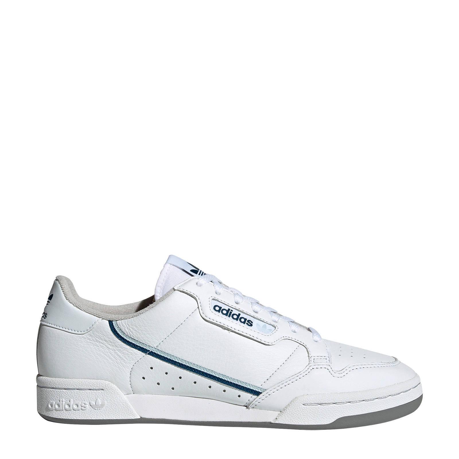 adidas Originals Continental 80 sneakers wit/blauw | wehkamp